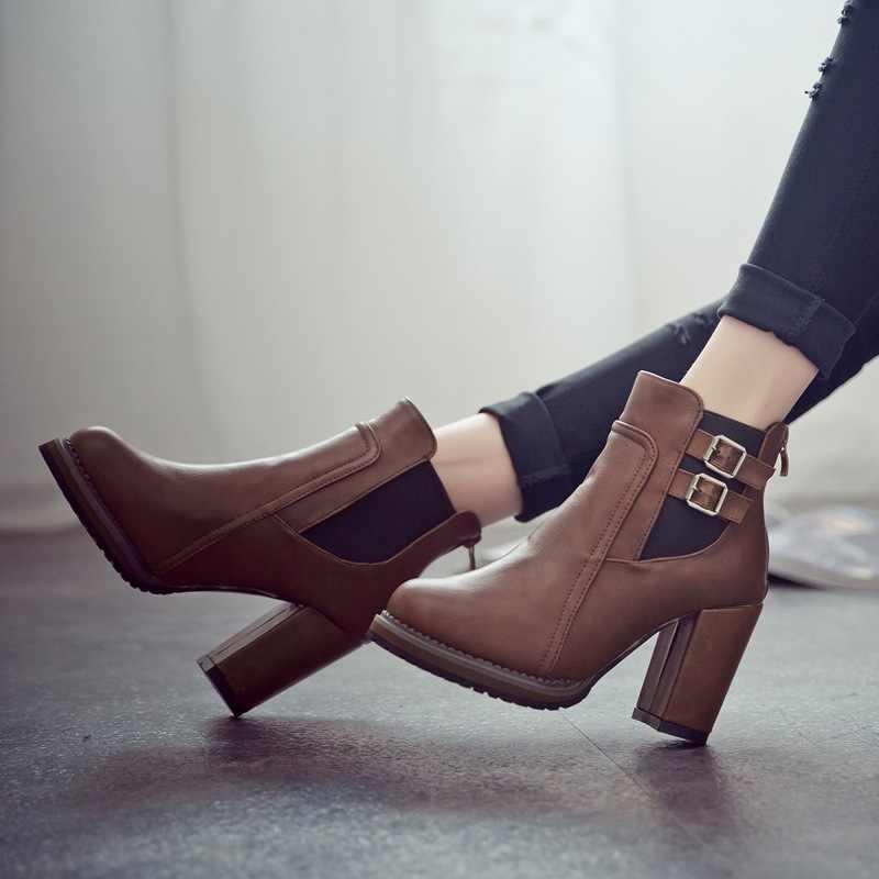 Botas femininas de couro do plutônio botas de inverno botas de salto alto moda sapatos de inverno botas de tornozelo preto marrom mais tamanho 41 42 43