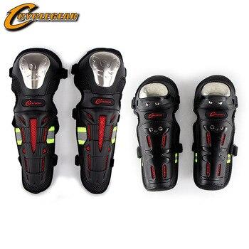 Set de 4 unidades de equipo de Motocross de acero inoxidable, equipo de protección para rodilla, protectores de coderas y rodilleras para motocicleta, protección de conducción al aire libre