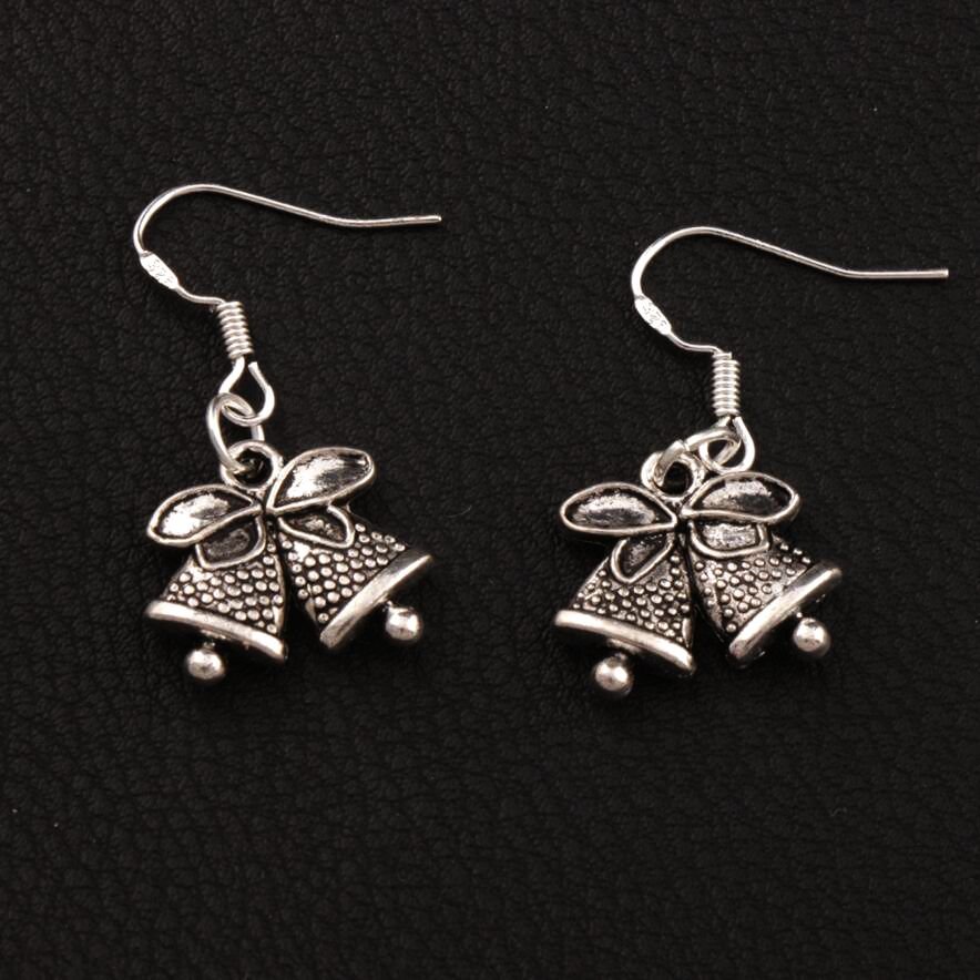 Well-Educated 16.7x31.7mm 20apirs Tibetan Silver Jingle Bell Christmas Dots Bells Earrings 925 Silver Fish Ear Hook E793 Home & Garden