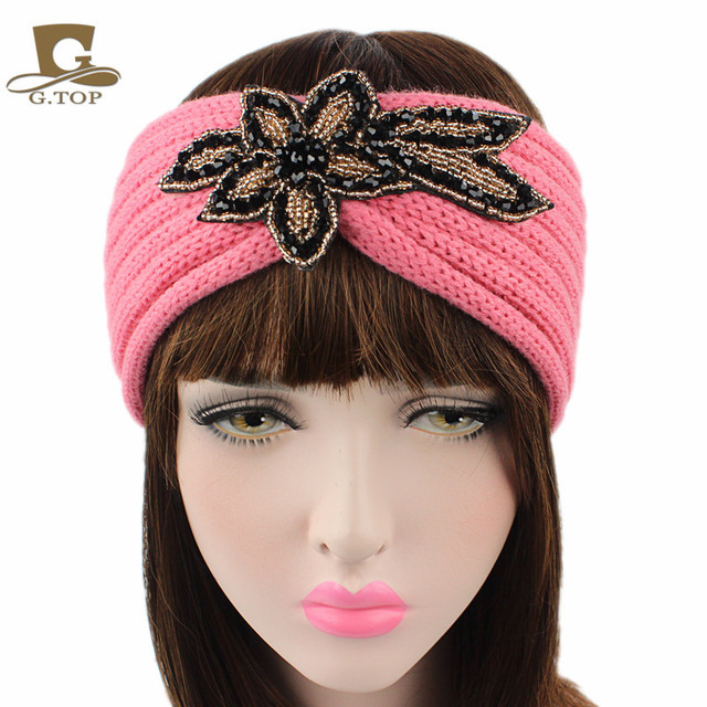 2017 new fashion women Beaded Flower Jewel Knit Headband Hairband Winter  Head Wrap Black Ivory hair accessories e30a23afd5d