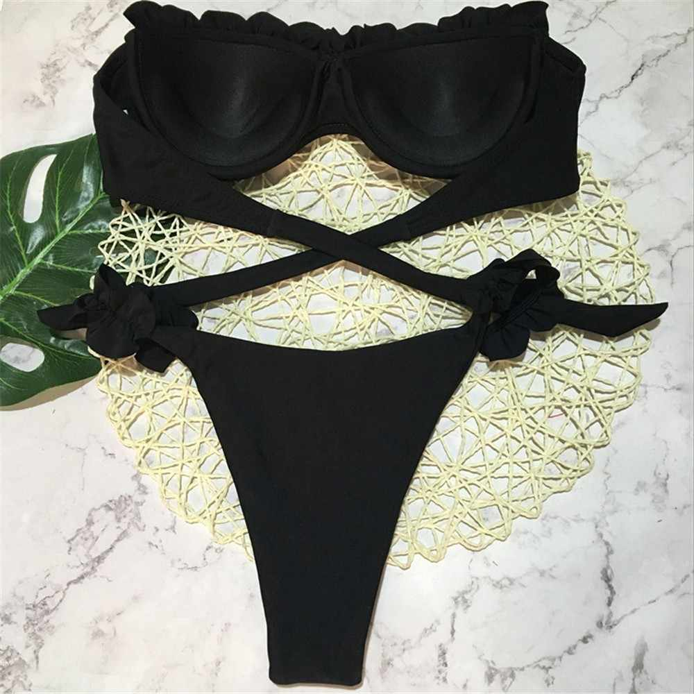 2019 Sexy Bikini Set Warna Solid Baju Renang Wanita Renda Biquini Tabung Atas Berenang Baju Renang Tanpa Tali Baju Renang Vintage Bikini