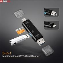 Raugee type C и Micro USB OTG карта адаптер 3 в 1 USB-C-ридер флэш-накопитель TF разъем для чтения для мобильного телефона ПК Mac компьютера