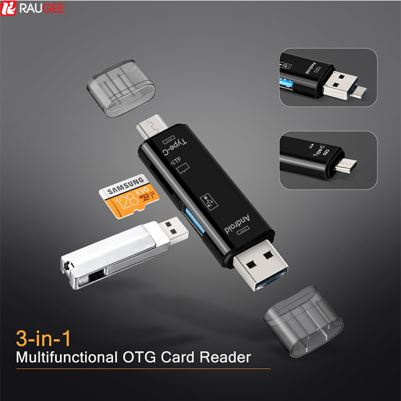 Raugee Type C & Micro USB OTG Card Adapter 3 In 1 USB-C Reader Flash Stick TF Read Plug For Mobile Phone PC Mac Computer