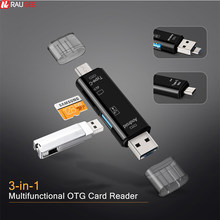 Raugee Type C & Micro USB OTG Card Adapter 3 In 1 USB-C Reader Flash Stick TF Read Plug For Mobile Phone PC Mac Computer(China)