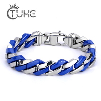 Fashion Link Chain Stainless Steel Blue and Silver Bracelet Men Heavy 10MM Wide Women Bracelets 2019 Bicycle Chain Wristband