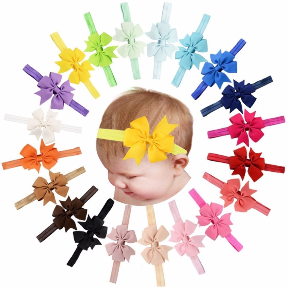 20 Pcs Baby Girls Headbands Grosgrain Ribbon Hair Bows For Infants Newborn