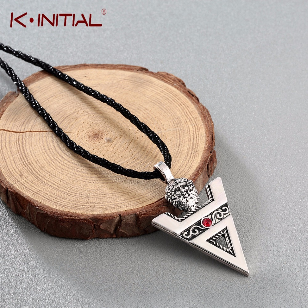 Kinitial Retro Veles Sign Necklace & Pendant Slavic Culture Pagans Amulet Triangle Crystal Necklace Handcrafted Jewelry Collier
