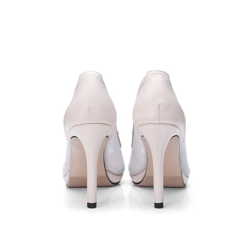 Party Top Grande noir Chaussures Sexy Femme D'été Pompes Peep Air Mince Taille Femmes Talons 34 43 Mesh Qualité Karinluna Toe Haute Beige UxwCqff