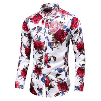 2019 Autumn Men Slim Floral Print Long Sleeve Shirts Fashion Brand Party Holiday Casual Dress Flower Shirt Homme Plus Size 7XL
