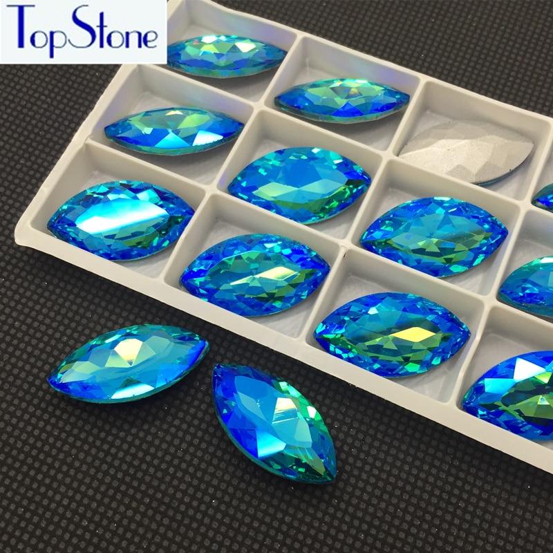 All 10X5,15x4,18x9,15x7,27x13,32x17,35x10,48x13mm NAVETTE Aquamarine AB POINTED BACK Rhinestones Marquise Glass Crystal Stone