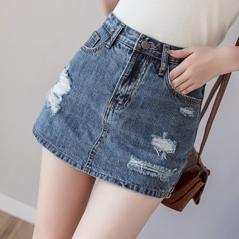 Summer Mini   Shorts   Skirts Female High Waist Ripped Denim   Shorts   Plus Size   Short   Jeans Feminino Women Casual Pockets   Short   Pants