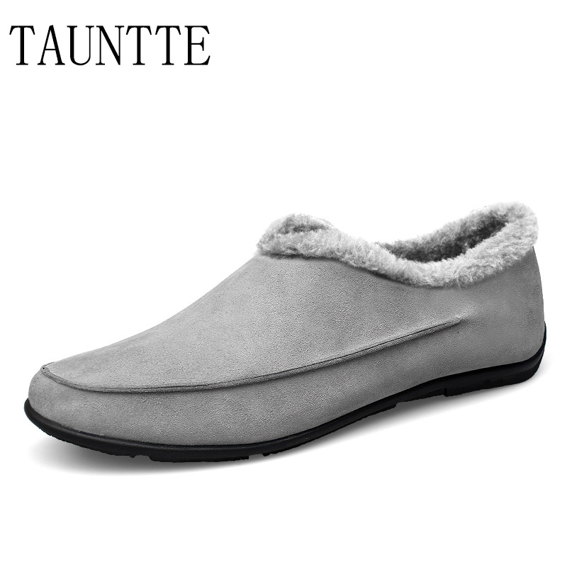 Cow Suede Leather Loafers Casual Slip-On Shoes Keep Warm With Fur Plus Size 2017 new lightweight breathable suede mens casual shoes adult keep warm with fur