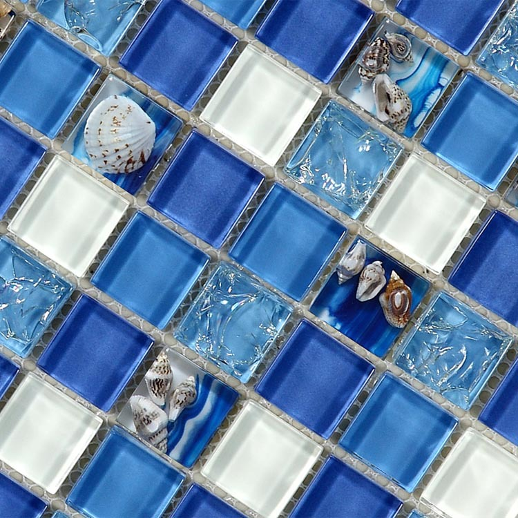 Natural Sea Shell In Blue Glass Mosaic Tiles 12x12 Wall And Floor Mosaic Tile For Bathroom