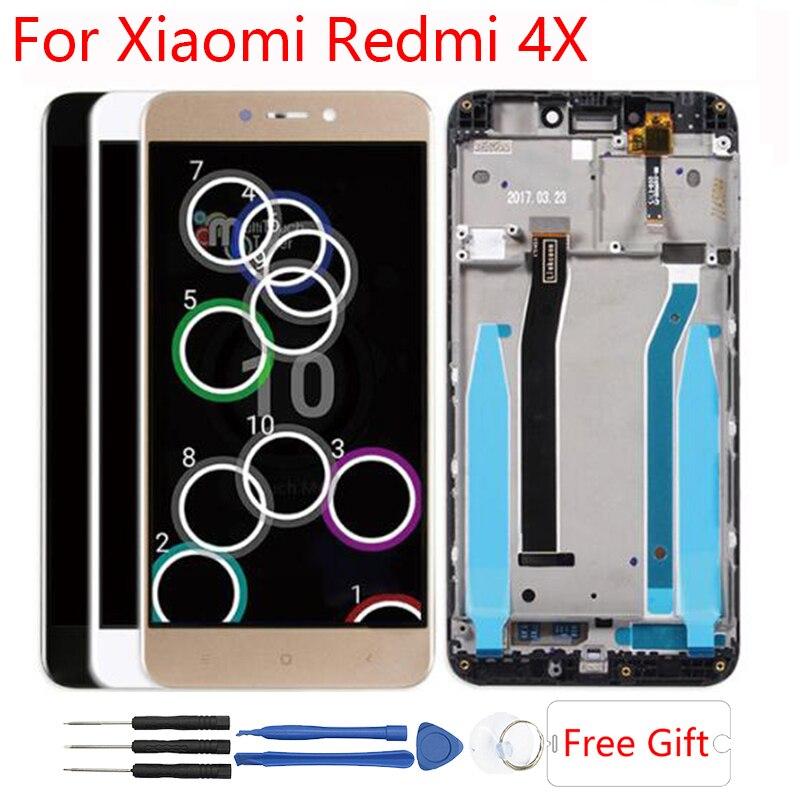 10 Touch Original Für Xiaomi Redmi 4x LCD Display Rahmen Mit Rahmen Touch Screen Ersatz Xiomi Redmi 4X LCD display