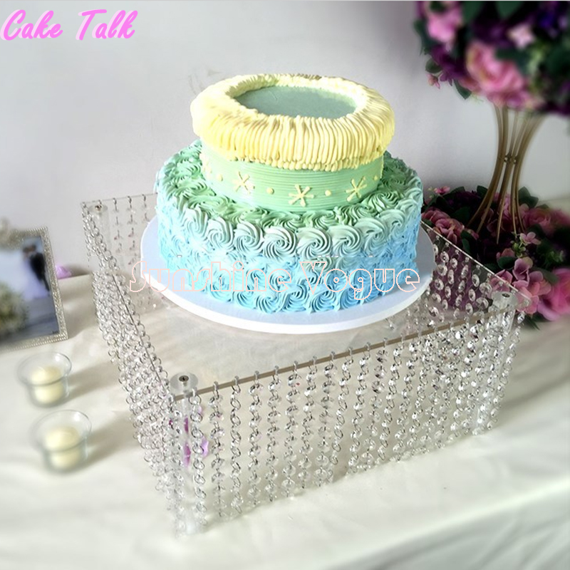 Round Clear Acrylic Cake Stand With Hanging Crystal 16inch 20inch Square Event Party Supplies In Stands From Home Garden On Aliexpress