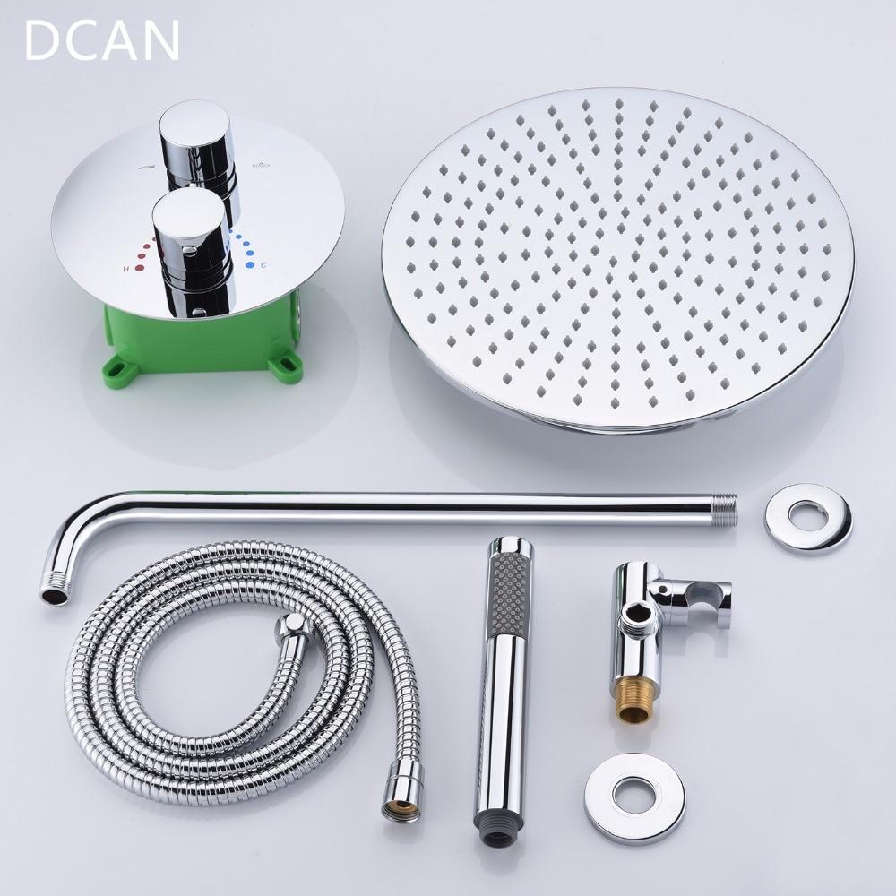 DCAN Bathroom Luxury Rain Mixer Shower Combo Set Wall Mounted 10