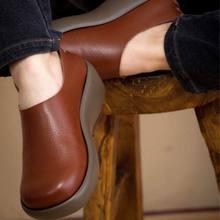 New 2017 women genuine leather shoes woman Full grain leather cowhide women flats fashion round toe platform women's shoes
