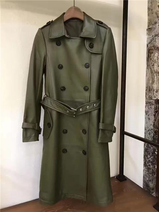 Арлин Саин женщин пользовательские без покрытия овчины двойной грудь длинный галстук талии армия зеленый кожаный одежда 311
