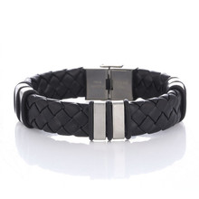 2018 Fashion Stainless Steel Chain PU Leather Bracelet Men Vintage Male Braid Jewelry for Women все цены