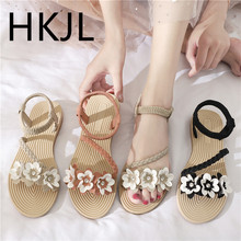 HKJL Sandal lady 2019 summer new Korean edition flat bottom opens toe flower to wear outside casual and fashionable sandal A761