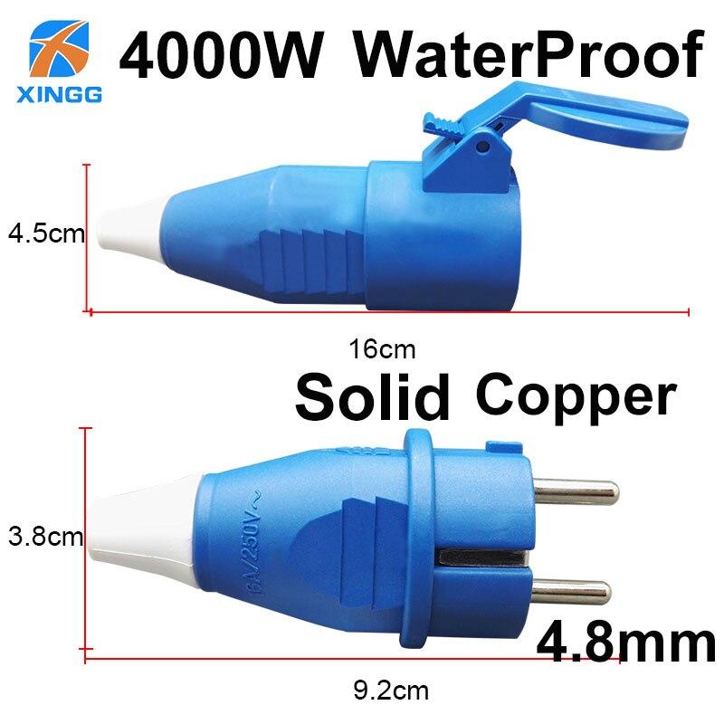 EU European Waterproof IP54 2Pin Electric Power Male Plug Female Schuko Rewireable Detachable Socket Adapter Extension Cord