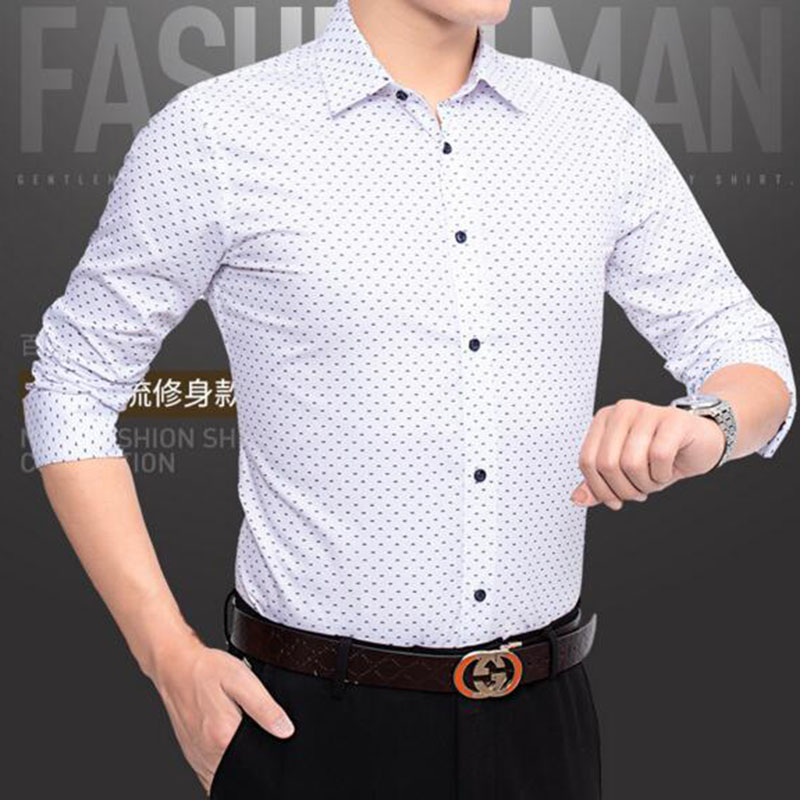 Men Single Breasted Polka Dot Printed Casual Shirts Camisa Breathable Soft Fabric Comfortable Slim Fit Long Sleeve Shirts Cloth in Casual Shirts from Men 39 s Clothing