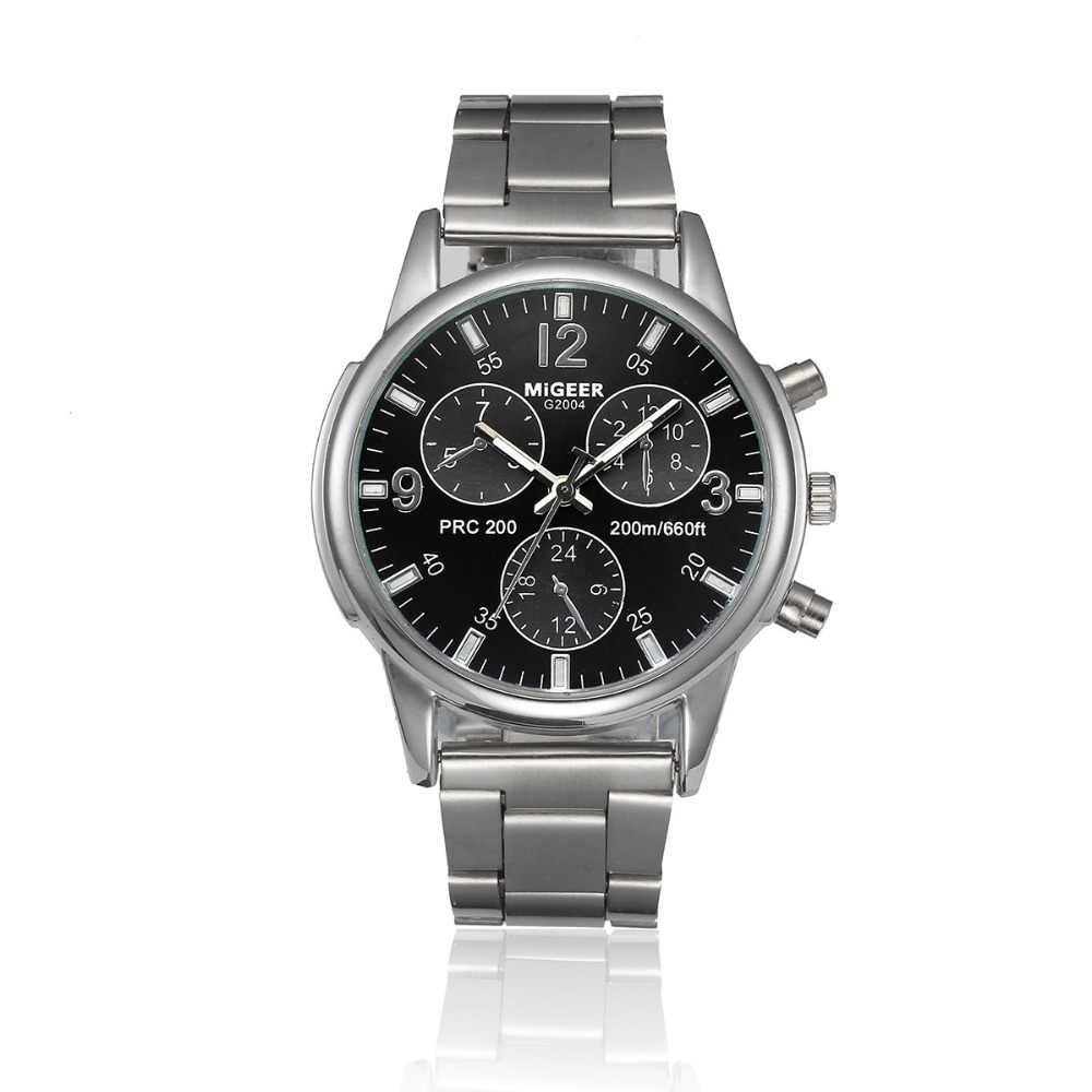 Moda mężczyźni kryształ ze stali nierdzewnej analogowy zegarek kwarcowy lady zegarki bransoletka zegar erkek kol saati relogio masculino