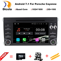 1024X600 Android 7.1.1 Quad Core Car DVD Player for Porsche Cayenne 2003-2010 3G Wifi Stereo System BT A9 1.6GHz CPU 16GB Flash