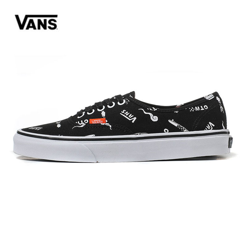 Black Cartoon Printed Vans Shoes Sneakers Low-top Trainers Unisex Sport Skateboarding Shoes Breathable Classic Canvas Vans Shoes popular classic buildings printed unframed canvas paintings