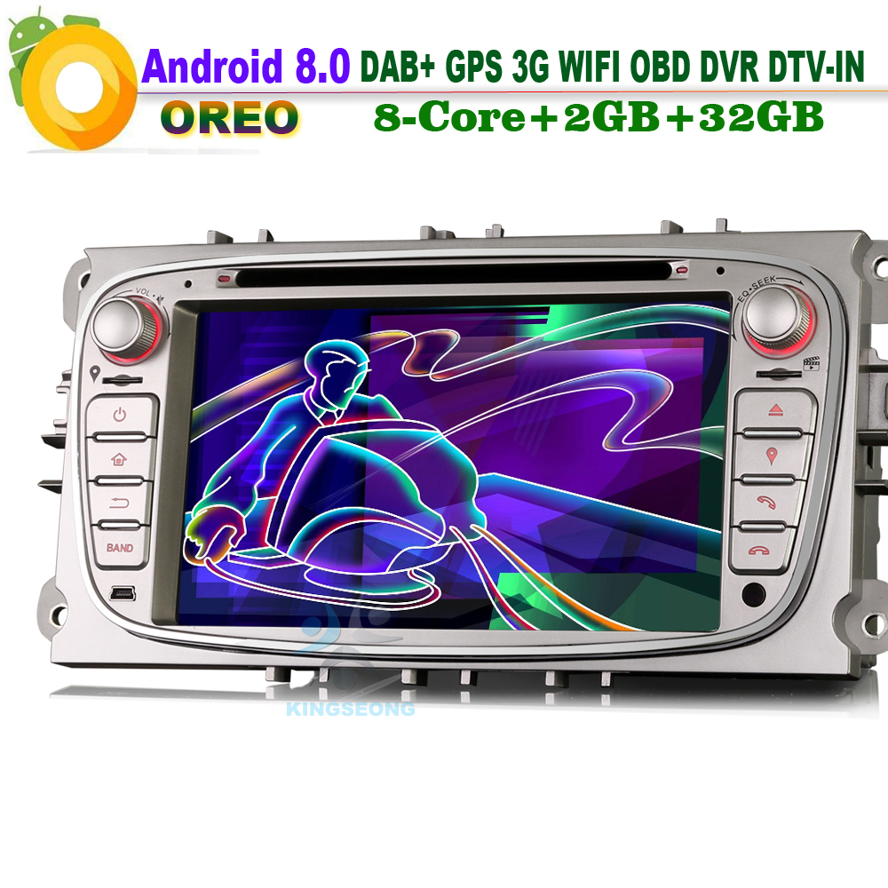 7Android 8.0 Autoradio Navi DAB+WiFi 3G GPS Radio Bluetooth RDS BT DVD DTV-IN Navigation Car Multimedia Player for Ford Mondeo