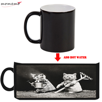 MOMEMO Lovely Cat Funny Mugs Magic Color Changing Ceramic Mugs Coffee Tea Hot Water Color Changing Mugs Friends Kids Best Gifts