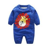 Cartoon Velvet Baby Romper Christmas Thick Knitted Baby Jumpsuit Warm Romper For Boys Long Sleeve O Neck Girls Sweater Romper