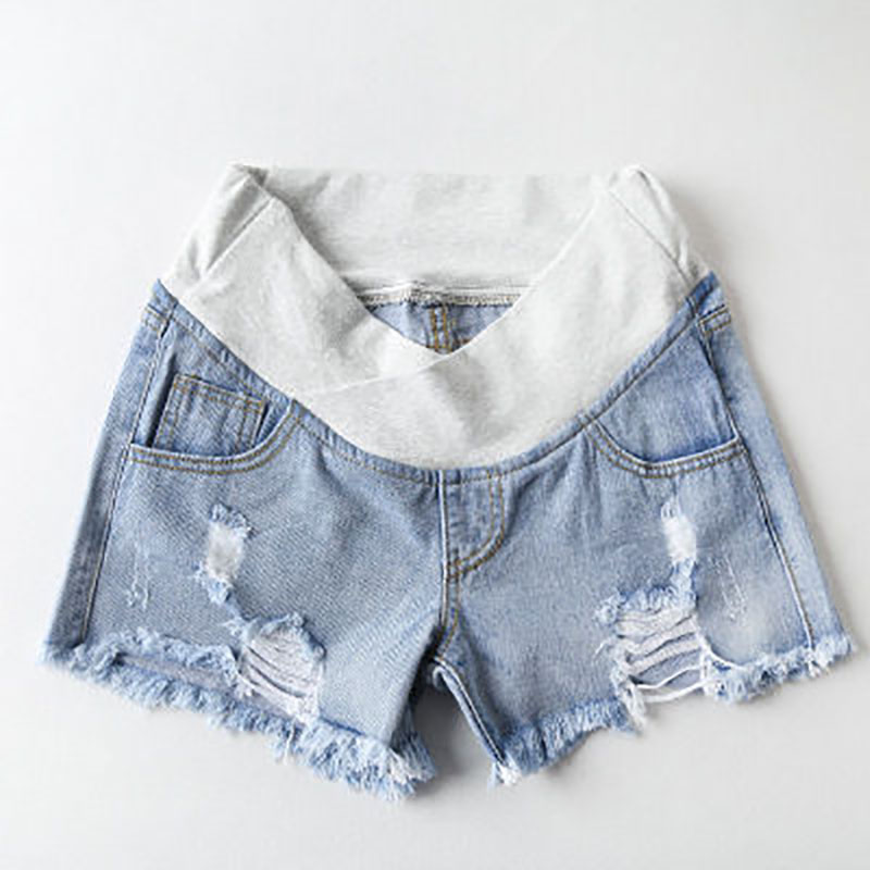 Plus Size 2XL Jean Shorts for Pregnant Women Clothes Denim Jeans Maternity Summer Wear Low-waisted Denim Pregnancy Shorts Loose