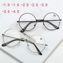 -1.0 -1.5 -2.0 To -6.0 Metal Round Finished Myopia Glasses Men Women Shortsighte