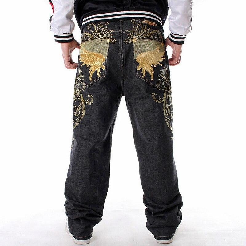 Men Denim Pants Loose Streetwears Hip Hop Jeans Casual Embroidery Skateboard Baggy Jeans Pants For Men Plus Size Jean Trousers