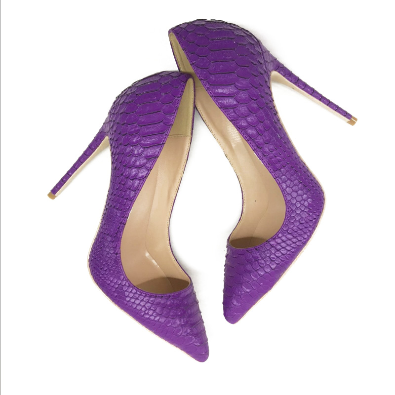 European and American style, fashionable, new eggplant, purple Snake Print, pointed and high heeled shoes, sexy women's single s