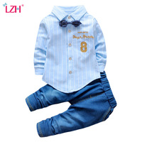 LZH Children Clothes 2017 Autumn Winter Baby Boys Clothes Set T Shirt Pants 2pcs Kids Christmas