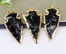Buy gold arrowhead pendant and get free shipping on aliexpress 5pcs nature stone arrow pendant in black colorgold electroplated charm gem stone arrowhead pendant aloadofball Image collections