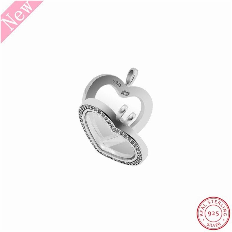 Image 5 - 60 cm moyen pierre clouté étincelant flottant coeur médaillon  pendentif colliers pour femmes bijoux en réel 925 argent Sterling  FLN069Colliers