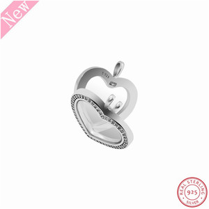 Image 5 - 60cm Medium Stone Studded Sparkling Floating Heart Locket Pendant Necklaces for Women Jewelry in Real 925 Sterling Silver FLN069