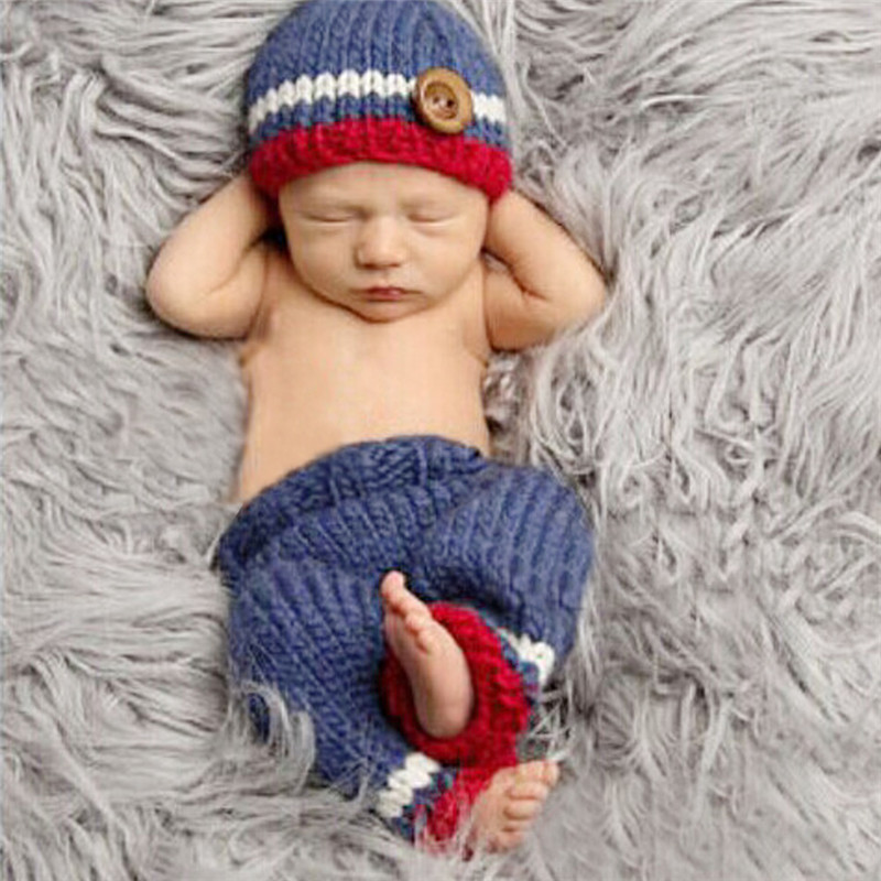 2pcs/set Handmade Infant Baby Costume Set Warm Crochet Knitted Beanies Hat+Pants Cute Toddler Hat Caps Newborn Photography Props