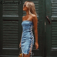 Glamaker Lace Up Strapless Sexy Denim Dress Elegant Short Mini Party Dress Women Blue Jeans Bodycon