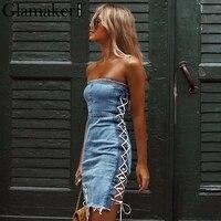 Glamaker Lace up straplez seksi denim elbise Zarif kısa mini parti elbise Kadınlar mavi jeans bodycon kulübü yaz elbise vestidos