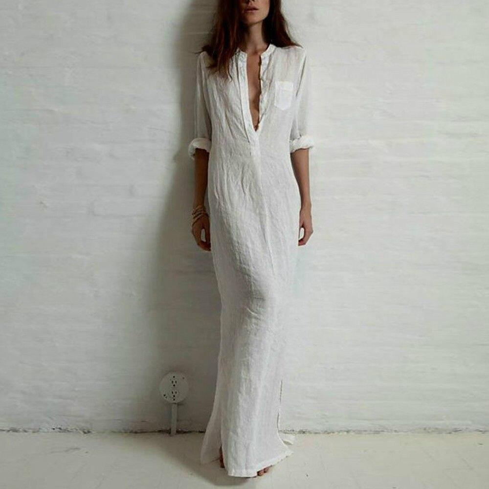 Vintage Women Cotton Linen Boho Long Maxi Dress Vestidos Casual Solid Black Summer Loose Full Sleeve V Neck White Shirt Dresses