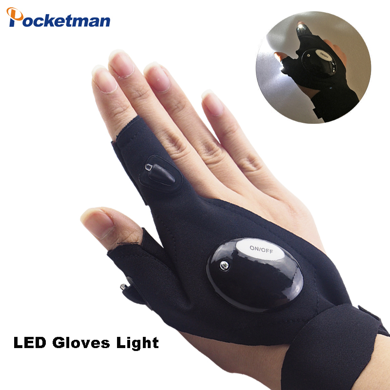 Magic Strap Finger Glove LED Flashlight Gloves For Repairing,Working In Darkness Places, Camping, Hiking And Outdoor Activities