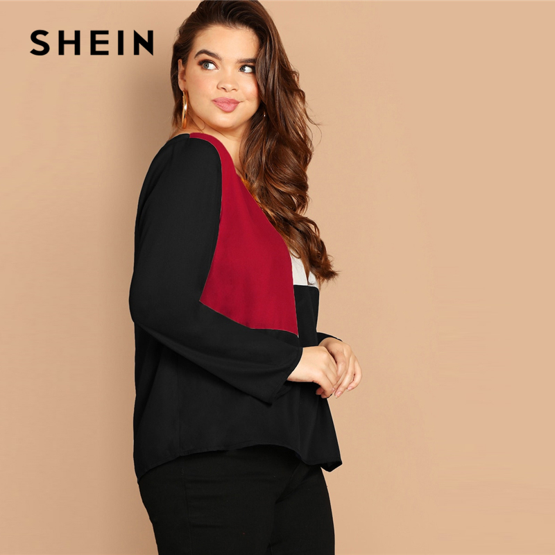 SHEIN Multicolor Keyhole Back Color-block Button Long Sleeve Top Plus Size Blouses Women 2019 Spring Round Neck Blouse 2
