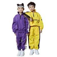 Loose Jazz Dance Costume Kids Street Dance Practice Dancing Outfit Modern Rave Clothes Hip Hop Dance Wear For Girls Boys DC1080