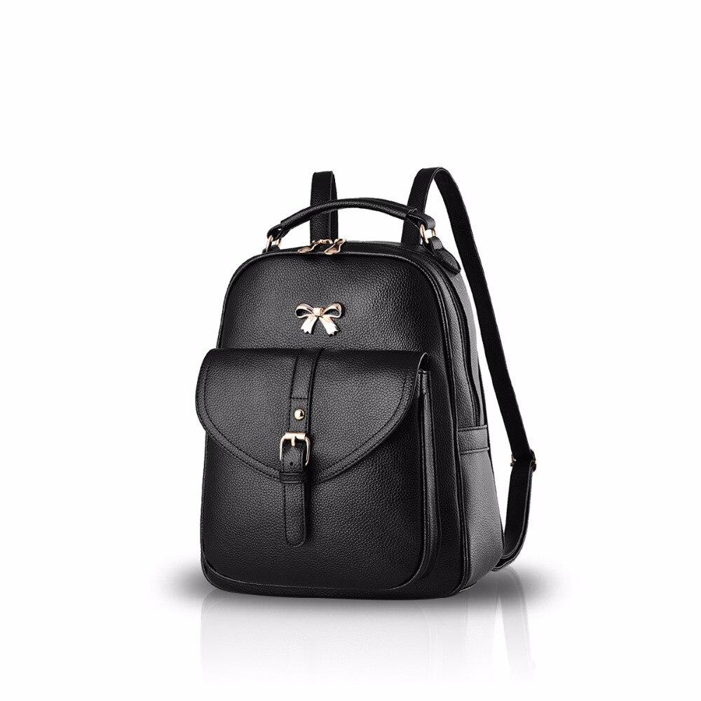 NICOLE DORIS Women Fashion Bowknot School Bag Travel Backpack Female Daypack Shoulder Durable Waterproof PU