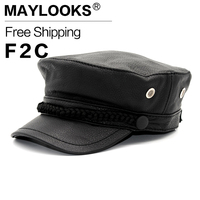 Black Military Hats With Button Adujstable Genuine Leather Baseball Golf Sport Cap Men S Winter Brand