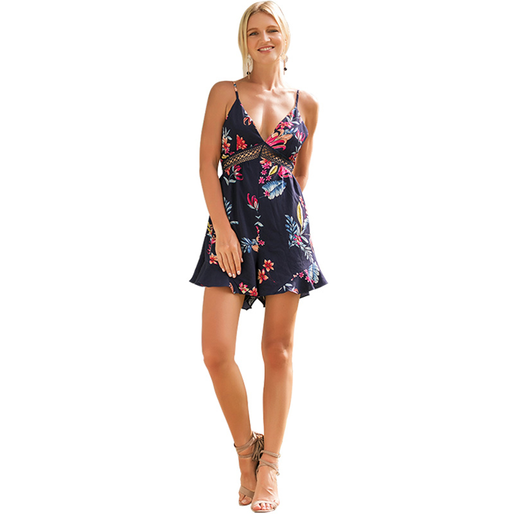 Summer Women Short Jumpsuit Floral Printed Spaghetti Strap Backless Hollow Out Beach Travel Rompers H9